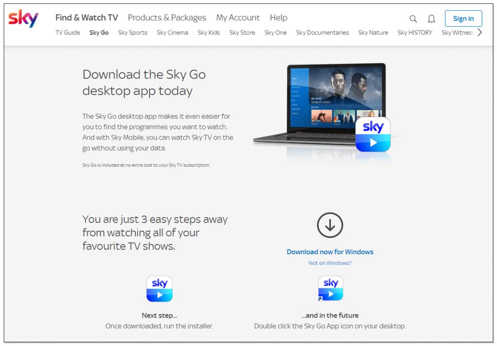 国外使用 VPN 观看 Sky Go 视频